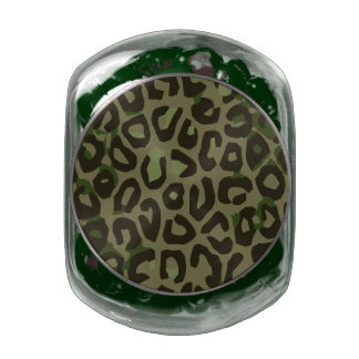 Camouflage Cheetah Abstract Glass Candy Jars
