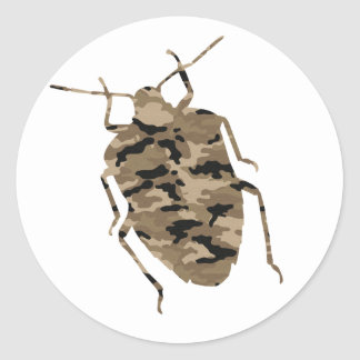 Camouflage Cockroach Silhouette Round Sticker