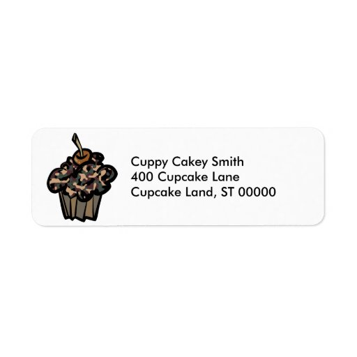 camouflage cupcake return address label