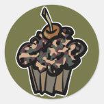camouflage cupcake round sticker
