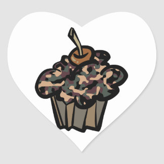 camouflage cupcake heart stickers