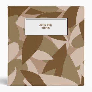 Camouflage custom name tag vinyl binder