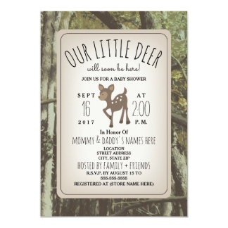 Camouflage Deer Baby Shower Invitation