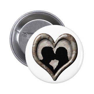 Camouflage Desert Heart -Kissing Couple Silhouette Pinback Button