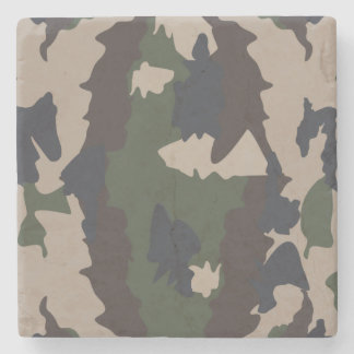 Camouflage design stone beverage coaster