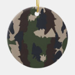 Camouflage design Double-Sided ceramic round christmas ornament