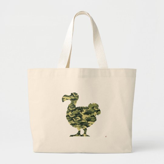 Camouflage Dodo Bird Silhouette Large Tote Bag