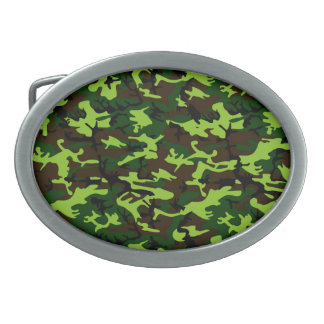 Camouflage Elite (army jungle green) ~ Oval Belt Buckle