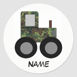 Camouflage Farm Tractor Customizable Sticker