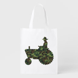 Camouflage Farmer on Tractor Grocery Bag
