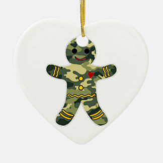 Camouflage Gingerbread Man Double-Sided Heart Ceramic Christmas Ornament