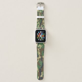 Camouflage Green And Brown Pattern Military Apple Watch Band