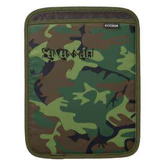 Camouflage Green Black and Brown iPad Sleeve