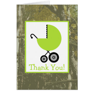 Camouflage & Green Carriage Baby Shower Thank You Greeting Card