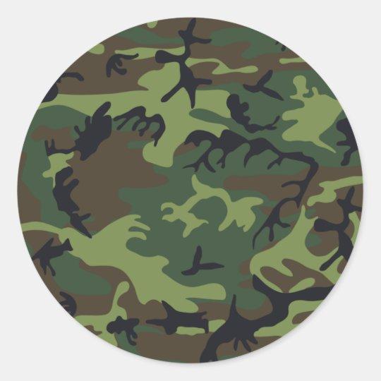 Camouflage Green Classic Round Sticker