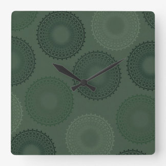 Camouflage Green Lace Doily Square Wall Clocks