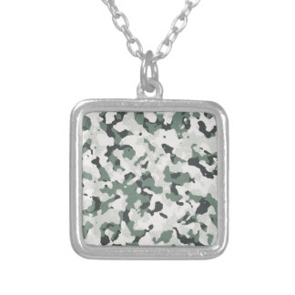 Camouflage Grey Tan Green Black Multi Terrain Silver Plated Necklace