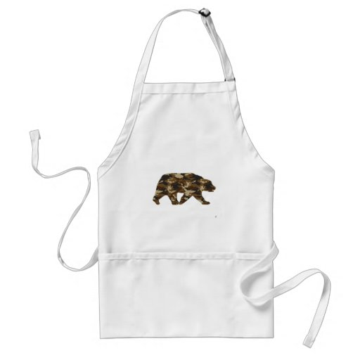 Camouflage Grizzly Bear Silhouette Apron