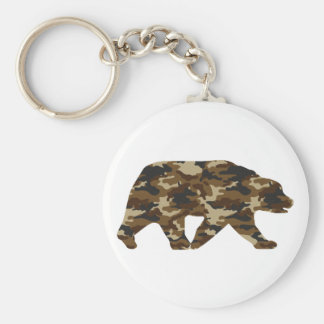 Camouflage Grizzly Bear Silhouette Basic Round Button Keychain