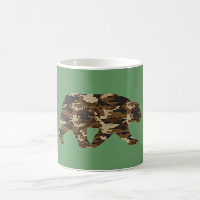 Camouflage Grizzly Bear Silhouette Coffee Mug