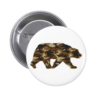 Camouflage Grizzly Bear Silhouette Pinback Button