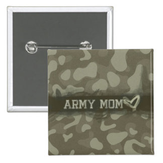 Camouflage Grunge Army Mom Love 2 Inch Square Button