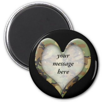 Camouflage Heart 2 Inch Round Magnet
