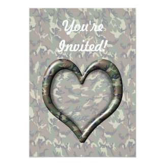 Camouflage Heart 5x7 Paper Invitation Card