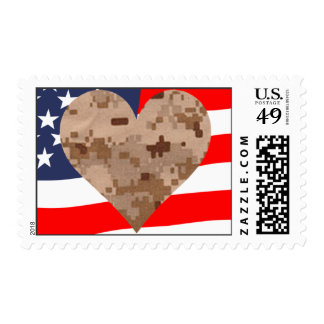 Camouflage Heart and Flag Postage
