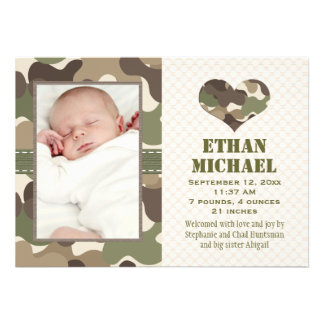 Camouflage Heart Baby Photo Birth Announcement