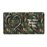 Camouflage Heart Custom Shipping Labels