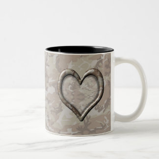 Camouflage Heart - Desert Two-Tone Coffee Mug