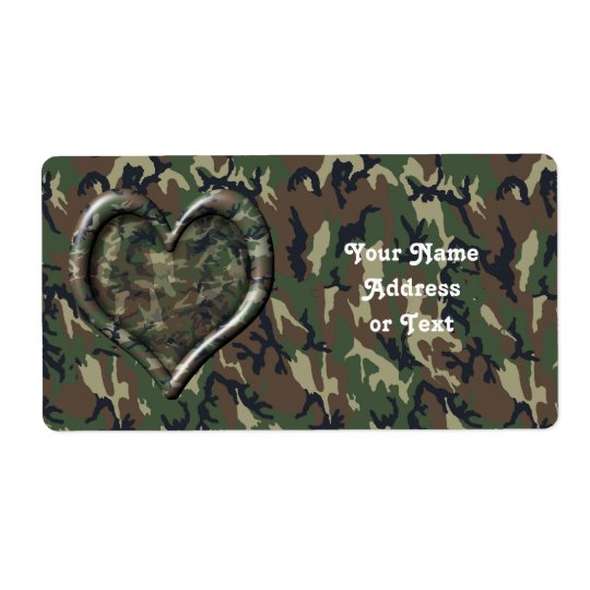 Camouflage Heart Label