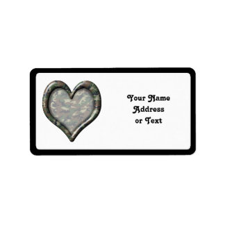 Camouflage Heart Custom Address Label