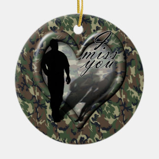 Camouflage Heart - Man Missing Woman (w/Text) Christmas Ornament