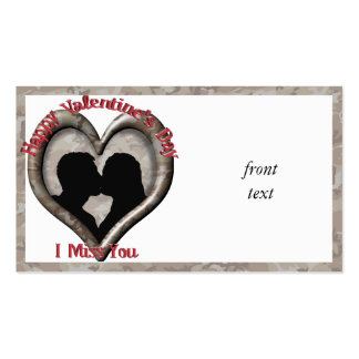 Camouflage Heart - Miss You on Valentine s Day Business Card Template