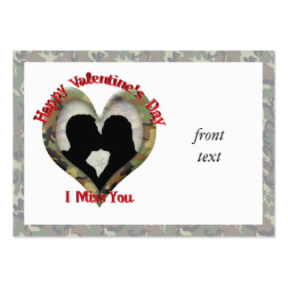 Camouflage Heart - Missing You on Valentine s Day Business Card Templates