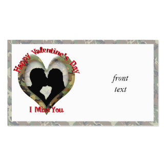Camouflage Heart - Missing You on Valentine s Day Business Card