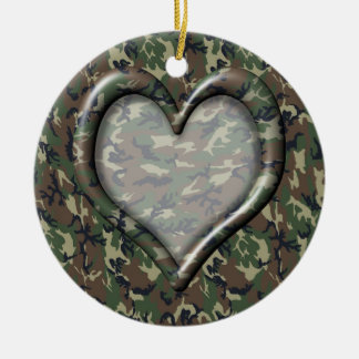 Camouflage Heart Christmas Ornaments