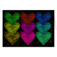 Camouflage Heart Pattern of Colors Card