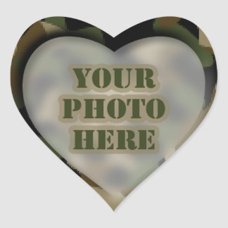 Camouflage Heart Photo Stickers