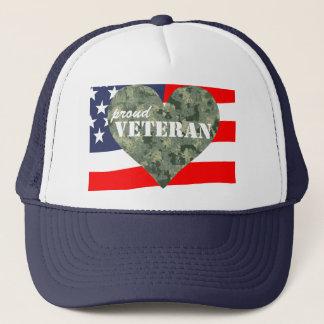 Camouflage Heart Proud Veterans Hat