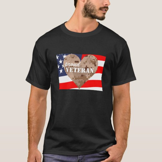 Camouflage Heart Proud Veterans Shirt