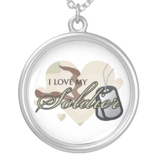 Camouflage Heart Silver Plated Necklace