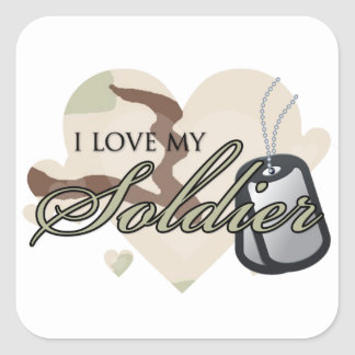 Camouflage Heart Square Sticker
