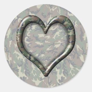 Camouflage Heart Classic Round Sticker