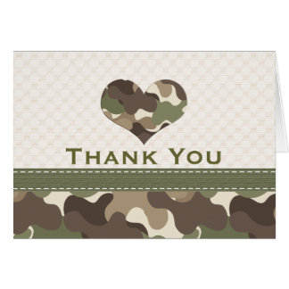 Camouflage Heart Thank You Note Cards