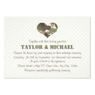 Camouflage Heart Wedding Invites