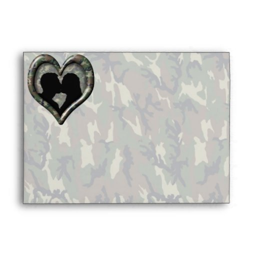 Camouflage Heart with Kissing Couple Envelope