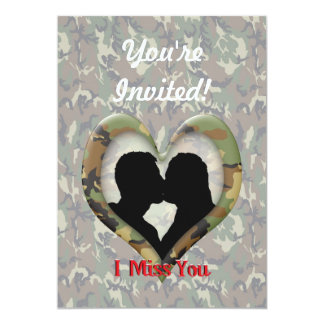 Camouflage Heart with Kissing Couple Miss You 5x7 Paper Invitation Card